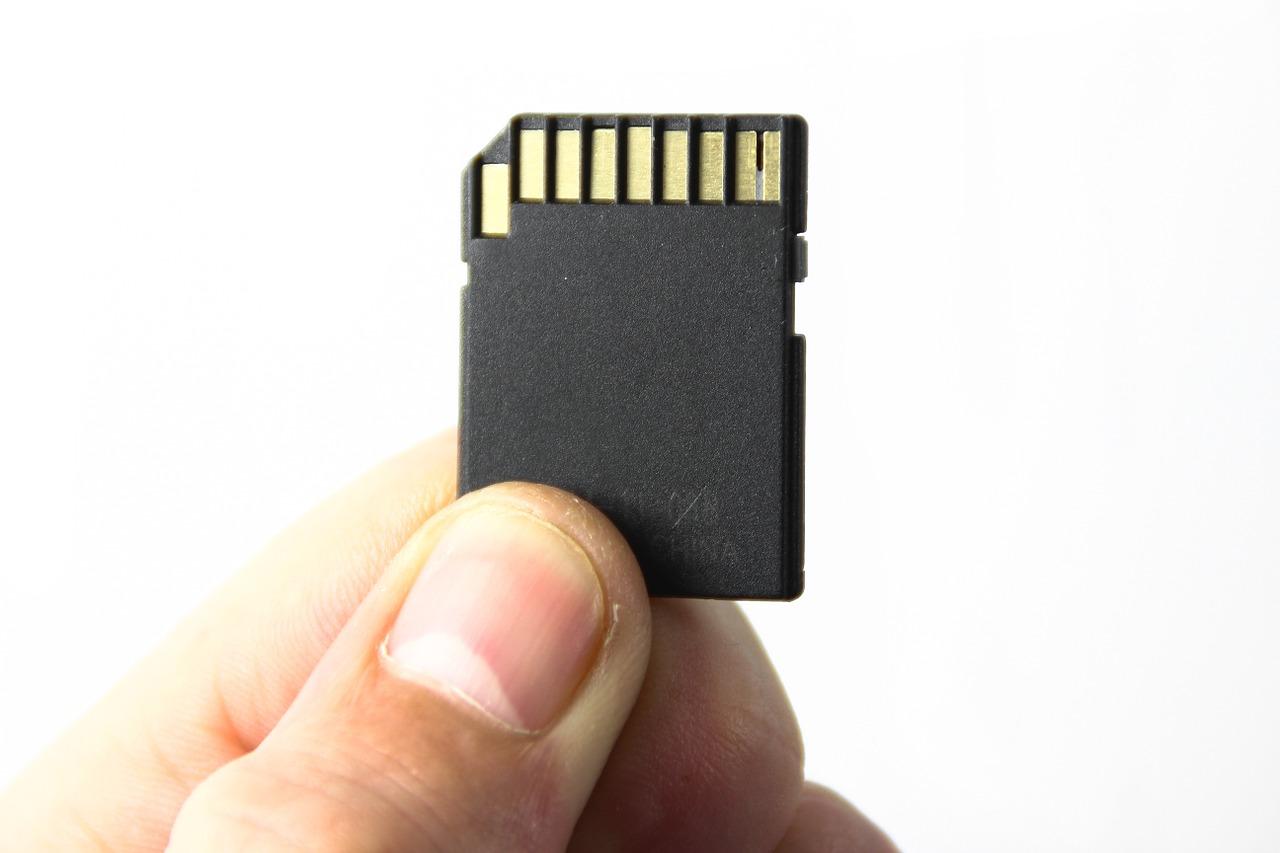 指でSDカードを持つ画像